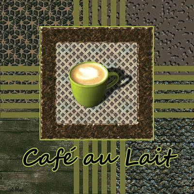 Cafe Au Lait - Coffee Art - Green Poster