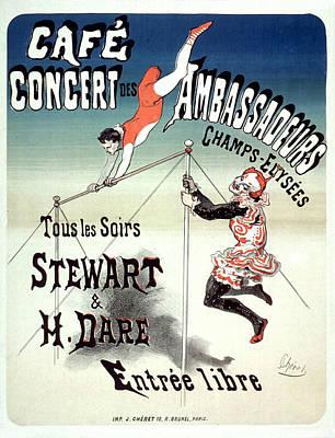 Cafe Concert Des Ambassadeurs Vintage French Advertising Poster 1877 Poster by Joy of Life Art