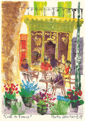 Poster featuring the painting Cafe De France by Martin Stankewitz