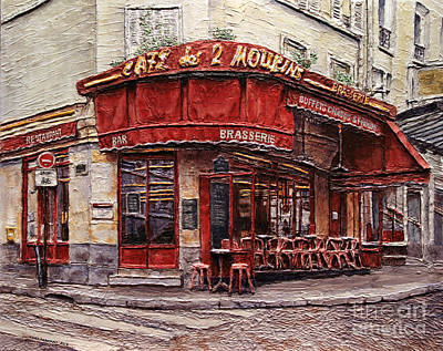 Poster featuring the painting Cafe Des 2 Moulins- Paris by Joey Agbayani