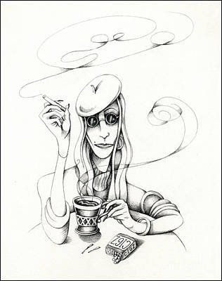 Poster featuring the drawing Cafe Lady by Valerie White