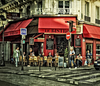 Cafe Le Bistro - Paris Poster by Mary Machare