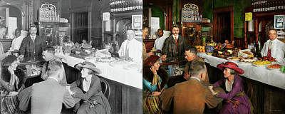 Poster featuring the photograph Cafe - Temptations 1915 - Side By Side by Mike Savad