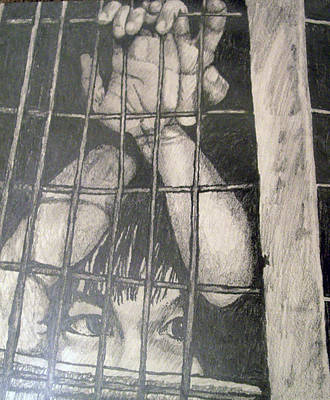 Poster featuring the drawing Caged by Jean Haynes