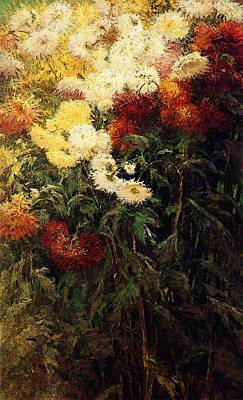 Caillebotte Gustave Chrysanthemums Garden At Petit Gennevilliers Poster by Gustave Caillebotte