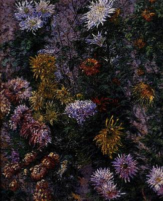 Caillebotte Gustave White And Yellow Chrysanthemums Garden At Petit Gennevilliers Poster by Gustave Caillebotte