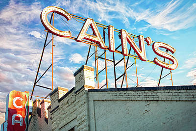 Poster featuring the photograph Cains Ballroom Music Hall - Downtown Tulsa Cityscape by Gregory Ballos