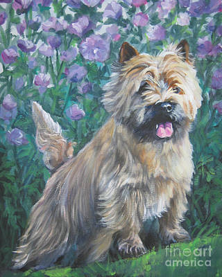 Cairn Terrier In The Flowers Poster by Lee Ann Shepard