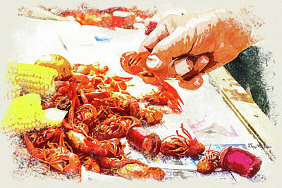 Poster featuring the digital art Cajun Cooked Crawfish by Barry Jones