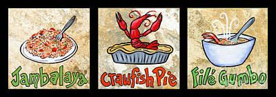 Cajun Food Trio Poster by Elaine Hodges