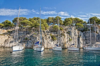 Calanque And Boats Poster by Delphimages Photo Creations