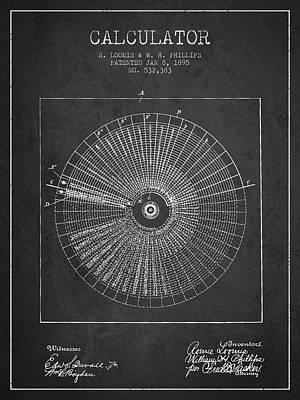 Calculator Patent From 1895 - Charcoal Poster by Aged Pixel
