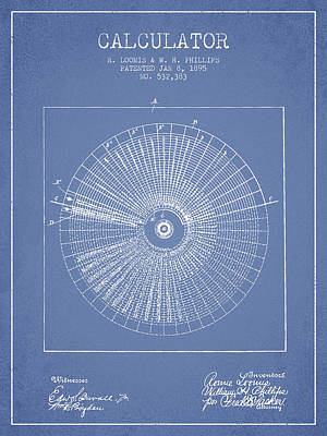 Calculator Patent From 1895 - Light Blue Poster by Aged Pixel