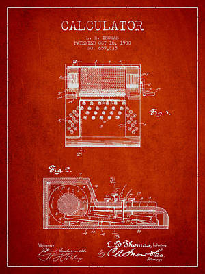 Calculator Patent From 1900 - Red Poster by Aged Pixel