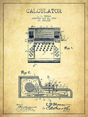 Calculator Patent From 1900 - Vintage Poster by Aged Pixel