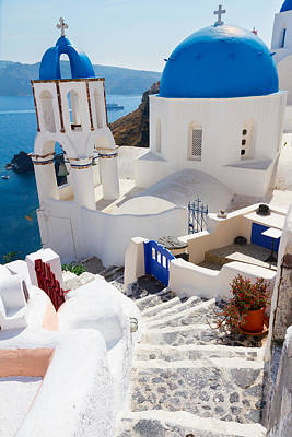 Caldera With Stairs And Church At Santorini Poster
