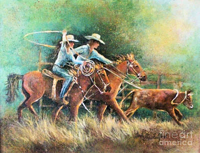 Poster featuring the painting Calf Roping by Linda Shackelford