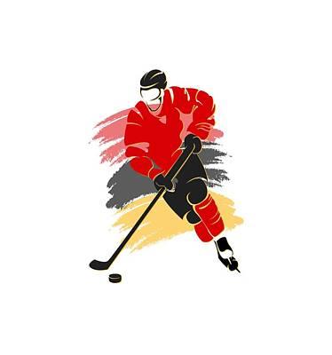 Calgary Flames Player Shirt Poster by Joe Hamilton