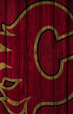 Calgary Flames Wood Fence Poster by Joe Hamilton