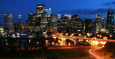 Calgary Skyline At Night Poster