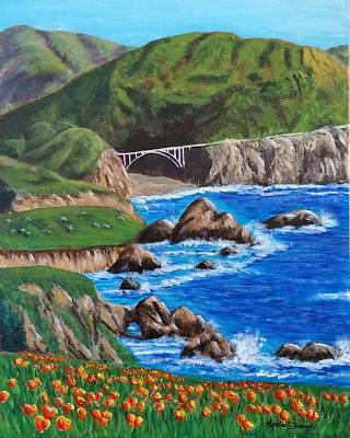 Poster featuring the painting California Coastline by Amelie Simmons