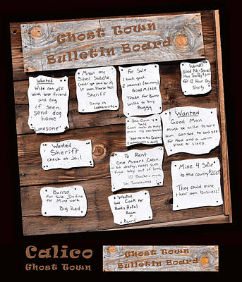 Calico Ghost Town Bulletin Board Poster by Barbara Snyder