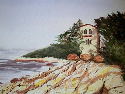 Poster featuring the painting California Coast Dreamhouse by Judy Via-Wolff