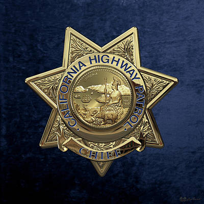 California Highway Patrol  -  C H P  Chief Badge Over Blue Velvet Poster by Serge Averbukh