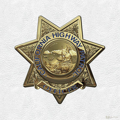 California Highway Patrol  -  C H P  Police Officer Badge Over White Leather Poster by Serge Averbukh