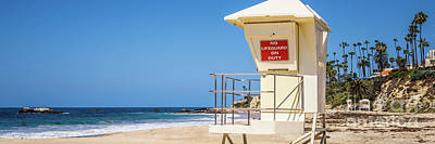 California Laguna Beach Lifeguard Tower Panorama Photo Poster by Paul Velgos