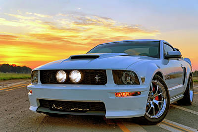 Poster featuring the photograph California Special Sunrise - Mustang - American Muscle Car by Jason Politte