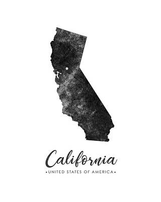 California State Map Art - Grunge Silhouette Poster
