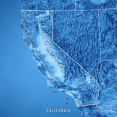 California State Usa 3d Render Topographic Map Blue Border Poster