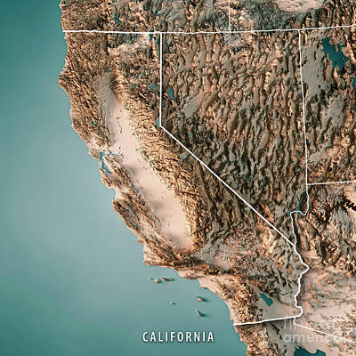 California State Usa 3d Render Topographic Map Neutral Border Poster