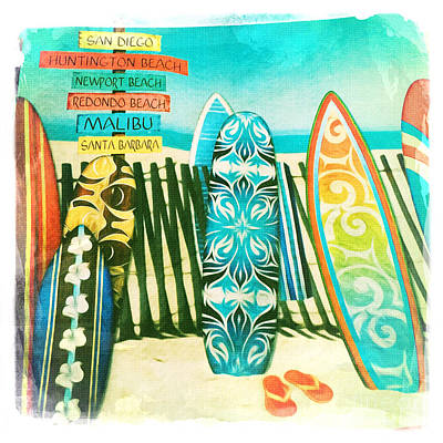 California Surfboards Poster