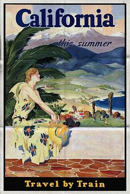 California This Summer - Travel By Train - Vintage Poster Folded Poster