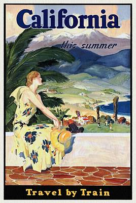 California This Summer - Travel By Train - Vintage Poster Restored Poster