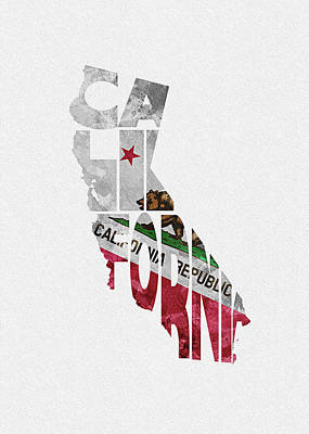 California Typographic Map Flag Poster