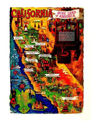California Wine Board 1950s Wine Land Of America Number 2 Poster