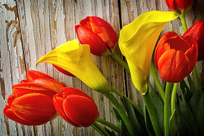 Calla Lilies And Red Tulips Poster
