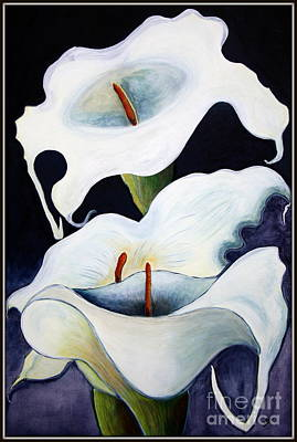 Poster featuring the painting Calla Lilies.. by Jolanta Anna Karolska
