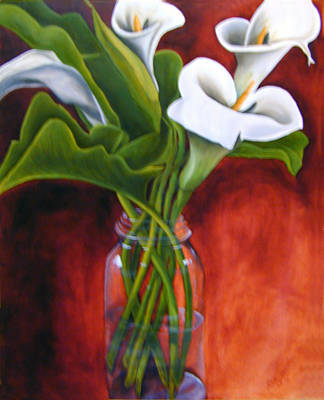 Calla Lilly On Red Poster