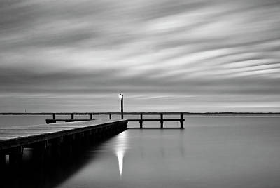 Calm Barnegat Bay New Jersey Black And White Poster