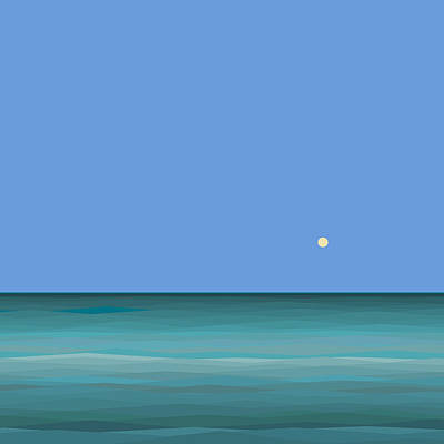 Poster featuring the digital art Calm Sea - Square by Val Arie