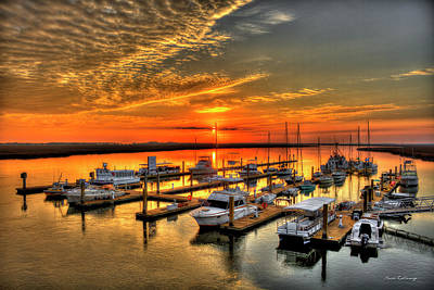 Poster featuring the photograph Calm Waters Bull River Marina Tybee Island Savannah Georgia by Reid Callaway