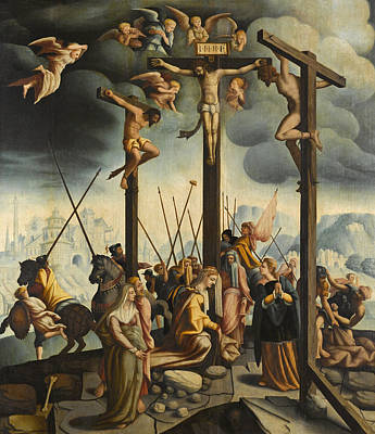 Calvary With The Three Crosses Poster by Follower of Jan van Scorel
