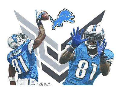 Calvin Johnson Poster by Chris Brown