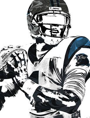 Poster featuring the mixed media Cam Newton Carolina Panthers Pixel Art 3 by Joe Hamilton