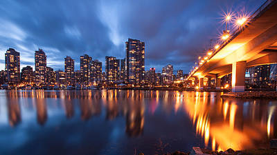 Cambie Bridge At Blue Hour Poster