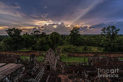 Cambodia Temple Ruins Sunset Poster by Mike Reid